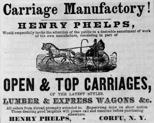 Henry Phelps Advertisement 1869