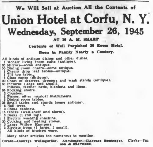 Advertisement Union Hotel 1945