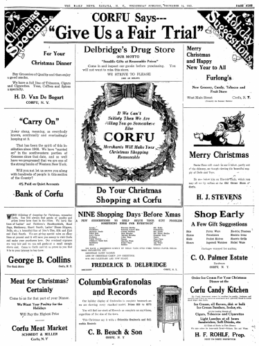 1921 Newspaper Clipping Advertisements